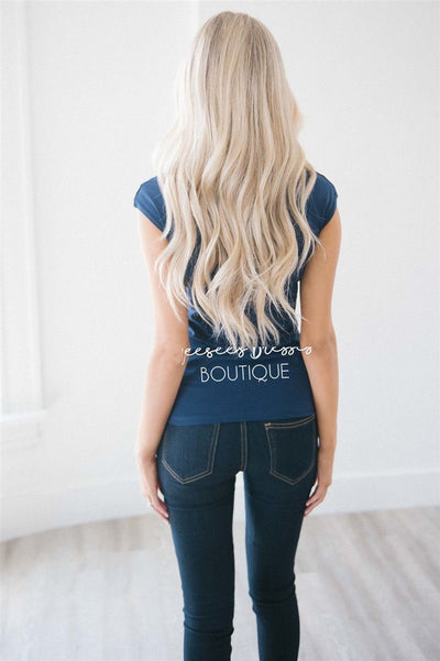 Navy Cap Sleeve Top
