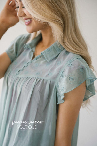 Embroidered Button Front Placket Top Tops vendor-unknown