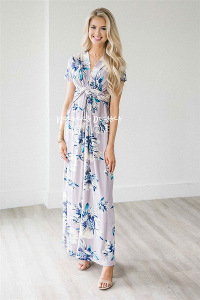 The Presley Modest Dresses vendor-unknown Lilac & Azure Amaryllis Floral S