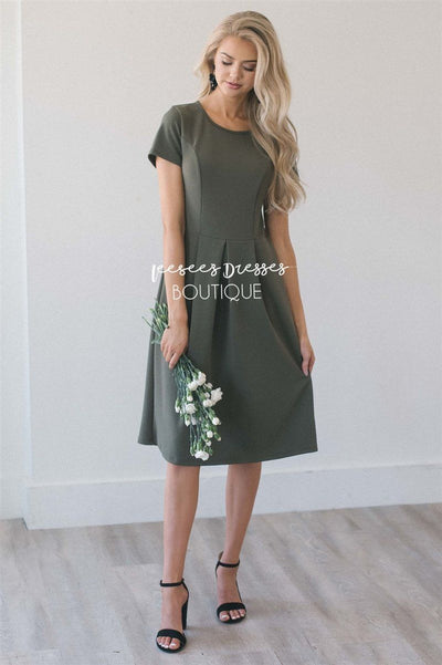 The Kelsie Modest Dresses vendor-unknown Olive S