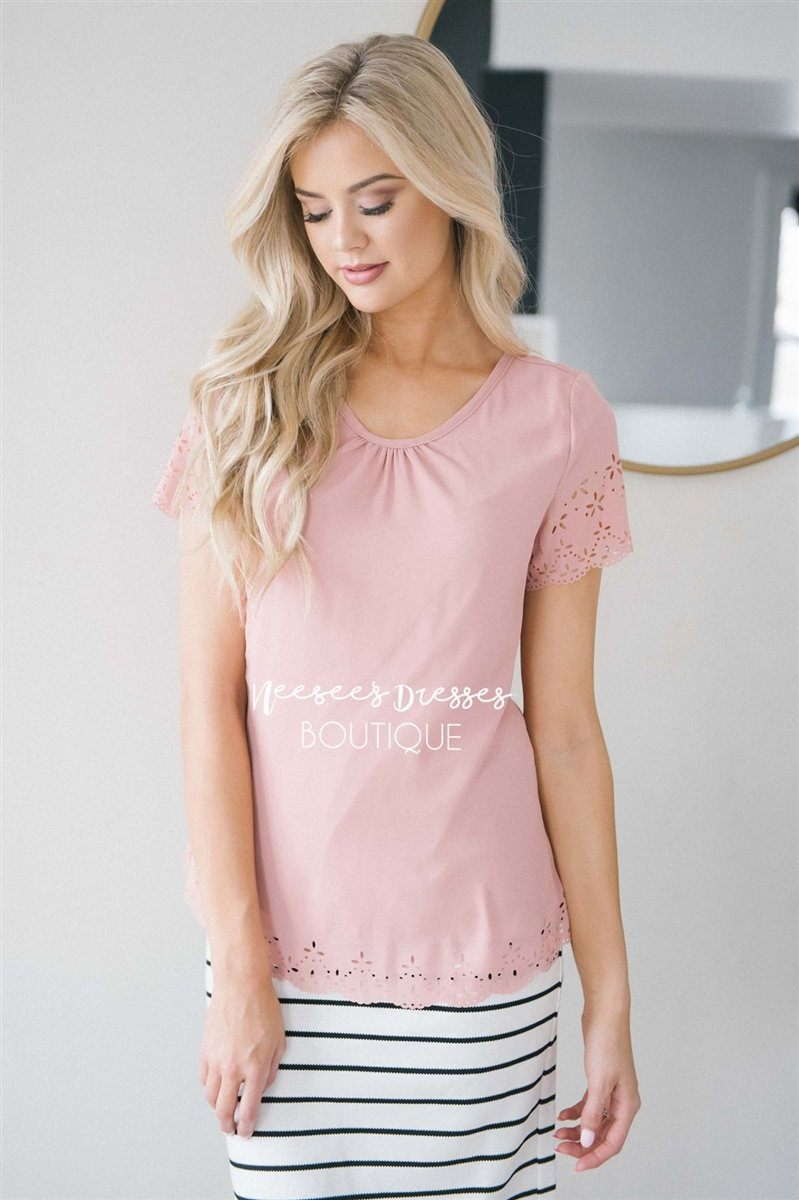 Eyelet Scallop Chiffon Top Tops vendor-unknown Pink XS