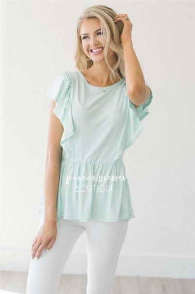 Peplum Ruffle Top Tops vendor-unknown Pastel Mint S