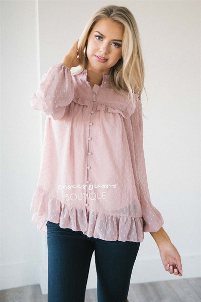 Ruffle Yoke Button Front Blouse Tops vendor-unknown