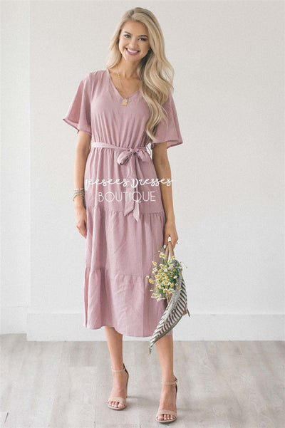 The Shara Modest Dresses vendor-unknown Mauve & Ivory Stripes S