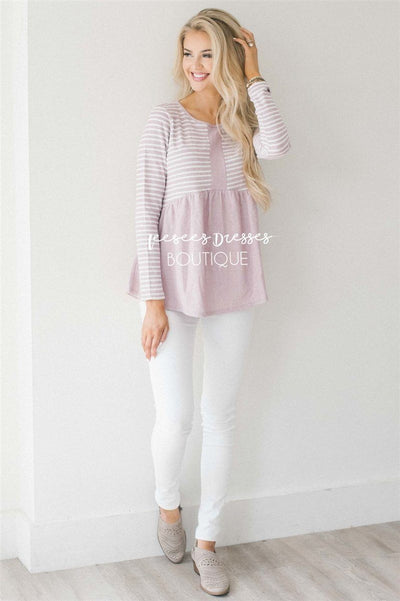 Heather Textured Baby Doll Top Tops vendor-unknown