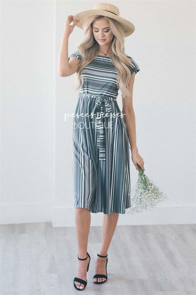 The Tari Modest Dresses vendor-unknown S Olive, Gray & Ivory Stripes