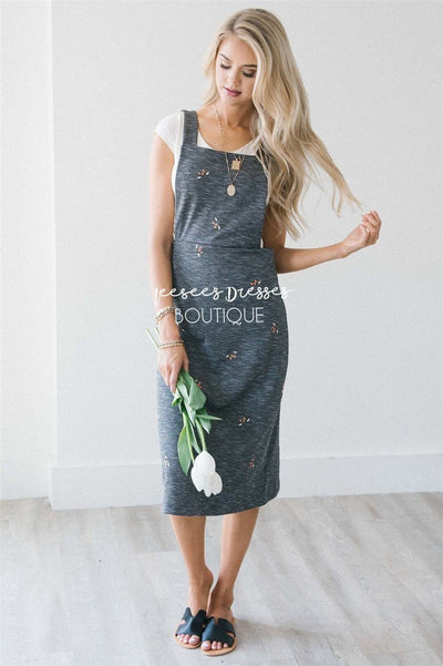 The Clementine Embroidered Overall Dress Modest Dresses vendor-unknown Charcoal With Mini Embroidered Floral S