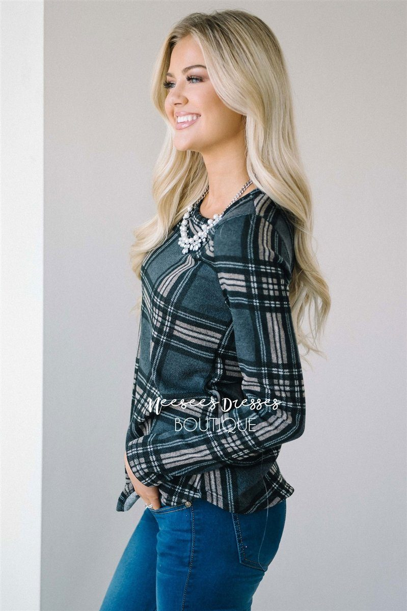 Cozy Plaid Long Sleeve Top