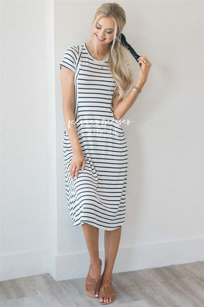 The Renee Modest Dresses vendor-unknown White & Navy Stripes S