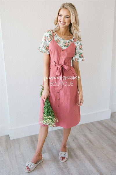The Kyla Tie Front Overall Dress Modest Dresses vendor-unknown