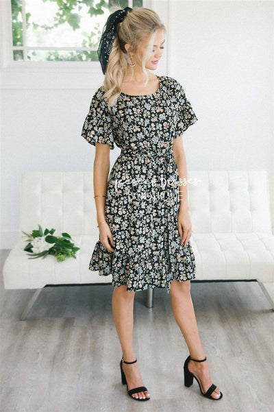 The Pippa Modest Dresses vendor-unknown S Black Mini Floral