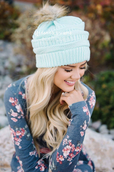 Mint Fur Pom Knit Beanie Accessories & Shoes Leto Accessories Mint Fur Pom Knit Beanie - Mint - One Size