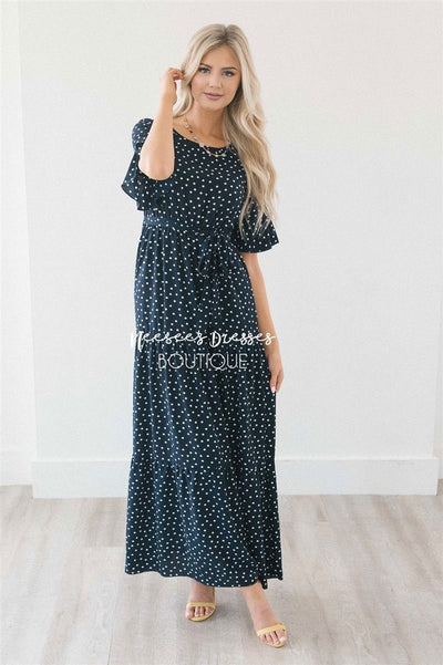 Polka Dot Flutter Sleeve Tiered Maxi Dress Modest Dresses vendor-unknown Navy S