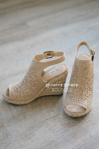 Jobyna Cream Wedges Accessories & Shoes vendor-unknown