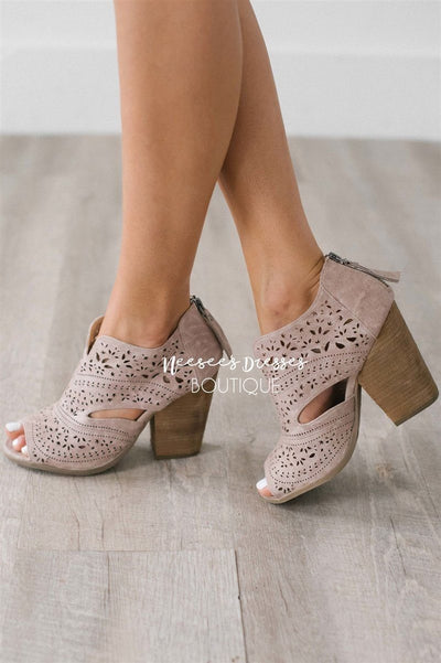 Santana Taupe Booties Accessories & Shoes vendor-unknown