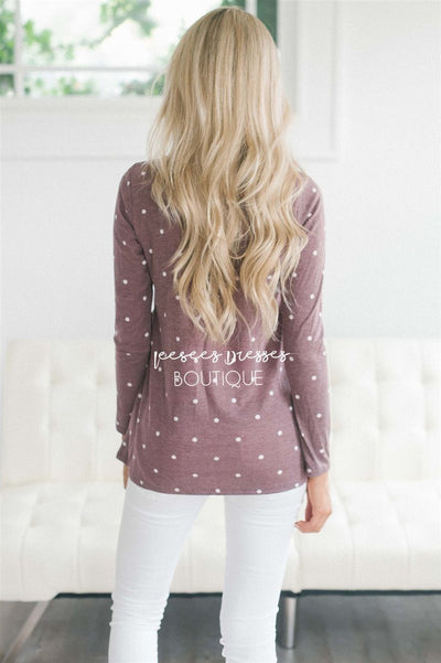 Polka Dot Ruffle Front Long Sleeve Top Tops vendor-unknown