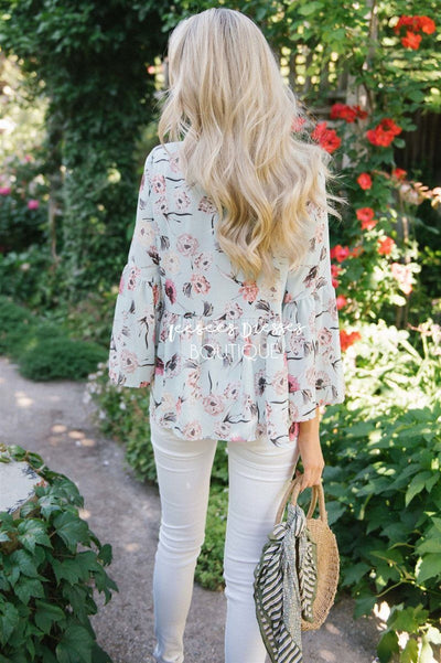 Chiffon Floral Peplum Bell Sleeve Top Tops vendor-unknown
