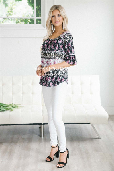 Lace Trim Bell Sleeve Chiffon Top