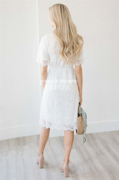 Ivory Scallop Lace Dress Modest Dresses vendor-unknown