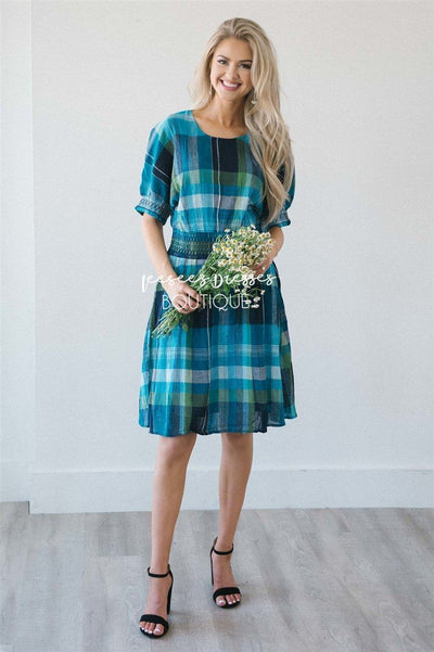 The Kyleen Modest Dresses vendor-unknown Bright Blue Plaid XS