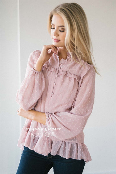 Ruffle Yoke Button Front Blouse Tops vendor-unknown Blush Pink S