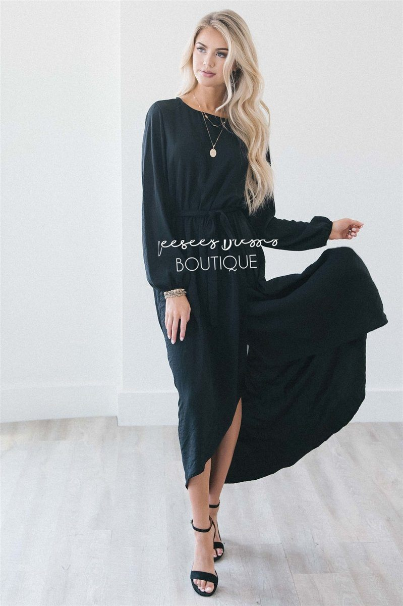 The Maleah - Long Sleeves Modest Dresses vendor-unknown S Black