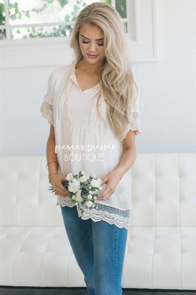 Baby Doll Lace Scallop Hem Blouse Tops vendor-unknown S Cream