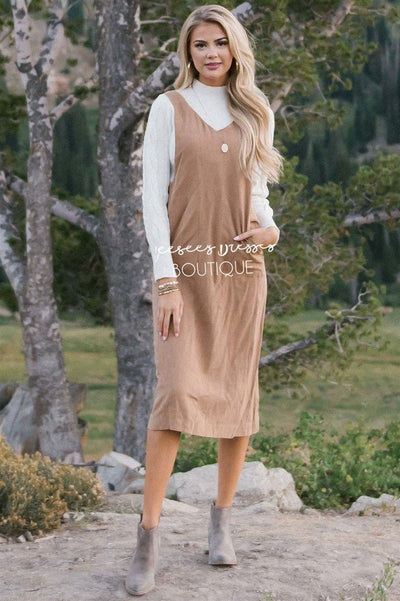 The Rachel Overall Dress Modest Dresses vendor-unknown S Camel