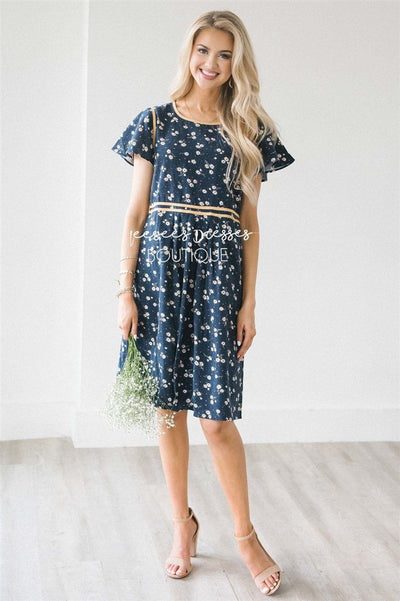 The Emerie Modest Dresses vendor-unknown S Navy Mini Floral with Yellow Trim