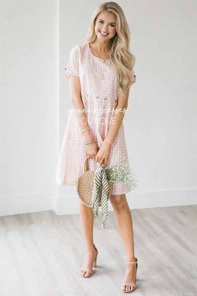 The Martha Modest Dresses vendor-unknown Soft Coral Pink & White Gingham Print S