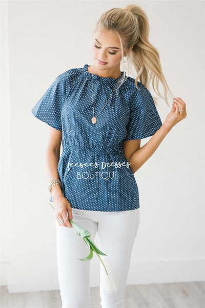 Polka Dot Cinched Peplum Top Tops vendor-unknown