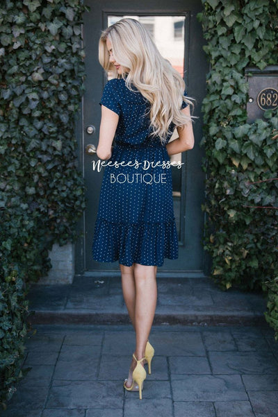 Polka Dots & Ruffles Dress Modest Dresses vendor-unknown