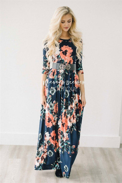 Navy Watercolor Floral Maxi Dress Modest Dresses vendor-unknown Navy S