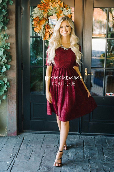 The Emery Modest Dresses vendor-unknown Burgundy XS