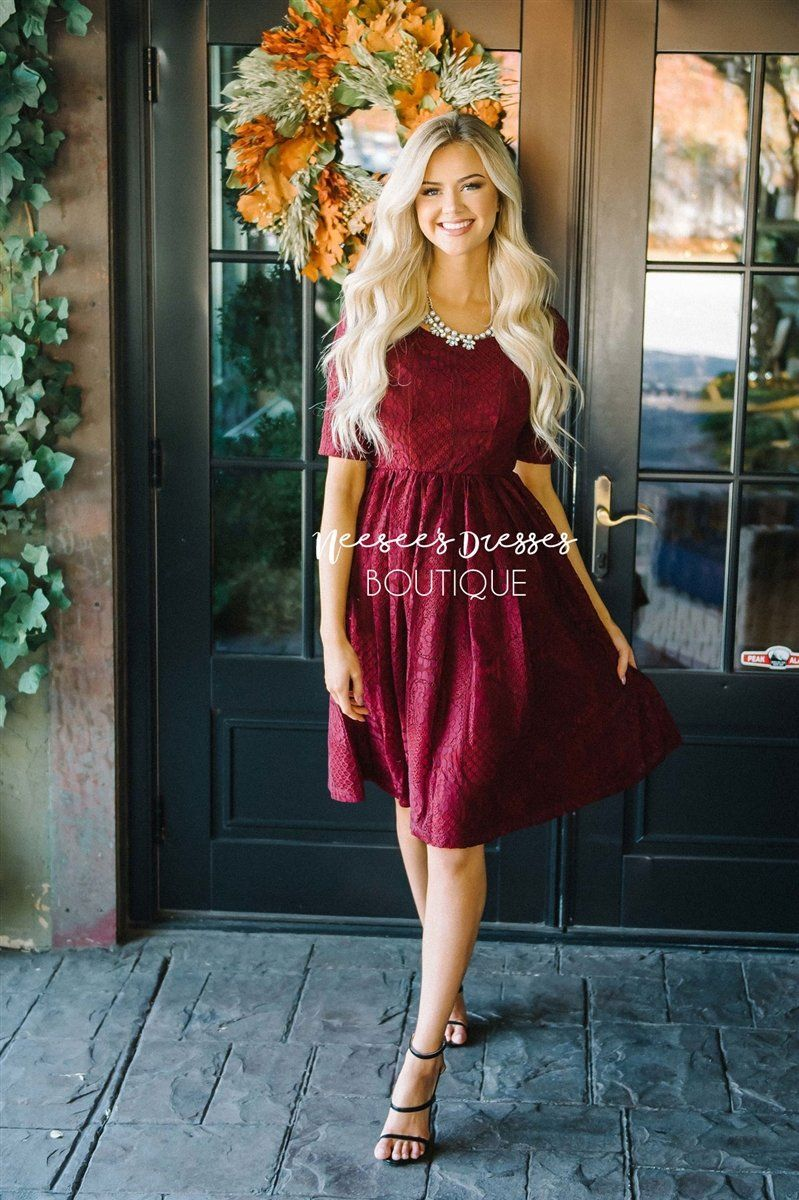 fcbf5802c787 The Emery Modest Dresses vendor-unknown Burgundy XS