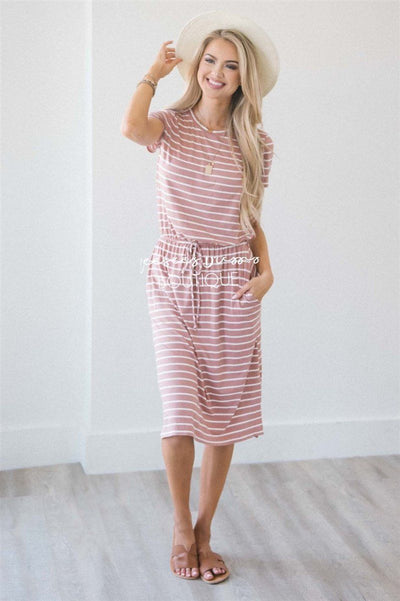 The Hannah Modest Dresses vendor-unknown Dusty Pink & Ivory Stripes S