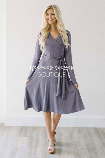 Dusty Lilac Wrap Dress Modest Dresses vendor-unknown S Dusty Lilac