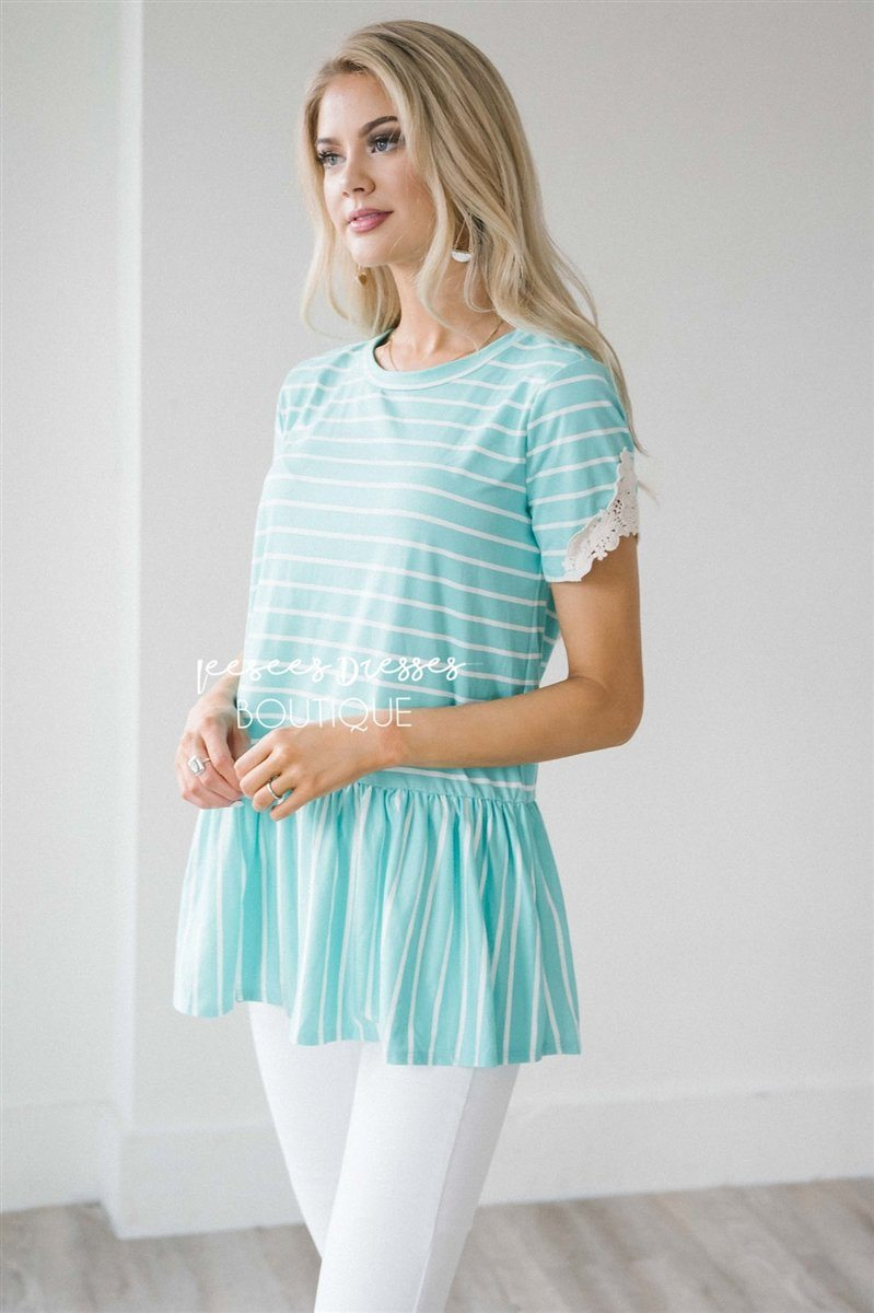 Striped Lace Trim Peplum Top
