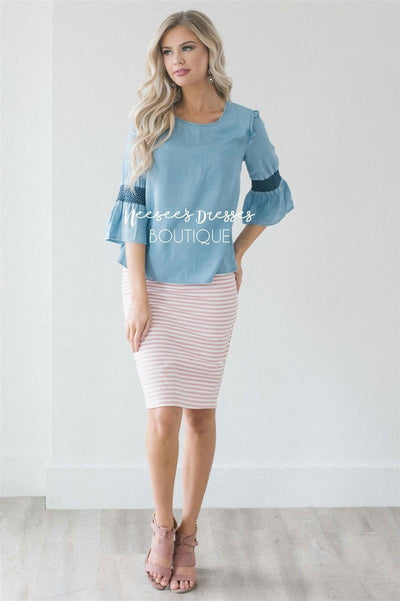 Light Blue Chambray Bell Sleeve Top Tops vendor-unknown
