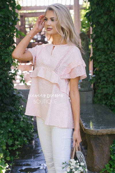 Layered Lace Sleeve Empire Waist Tunic Tops vendor-unknown Pink S