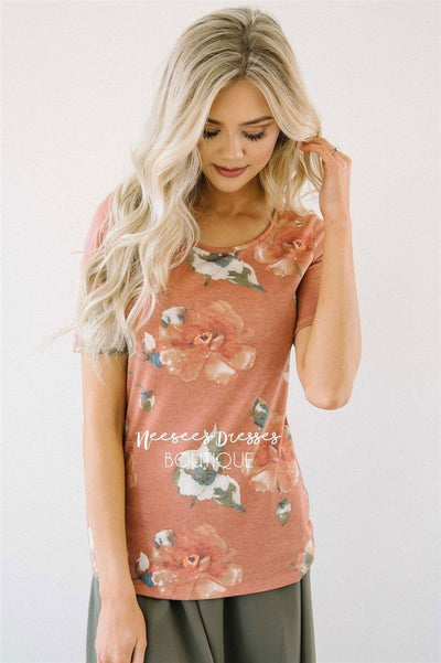 Faded Rust Floral Top Tops vendor-unknown