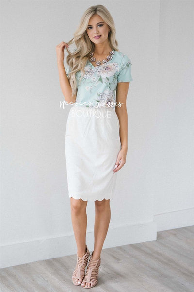 Ivory Scalloped Pencil Skirt Skirts vendor-unknown Ivory XS