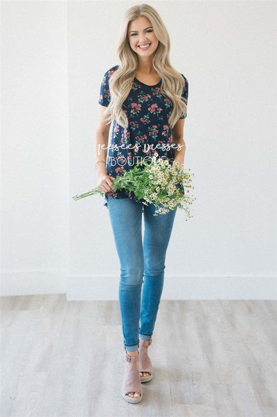 Floral Front Plaid Back Top Tops vendor-unknown