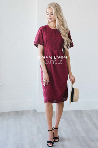 The Karsen Modest Dresses vendor-unknown Burgundy S