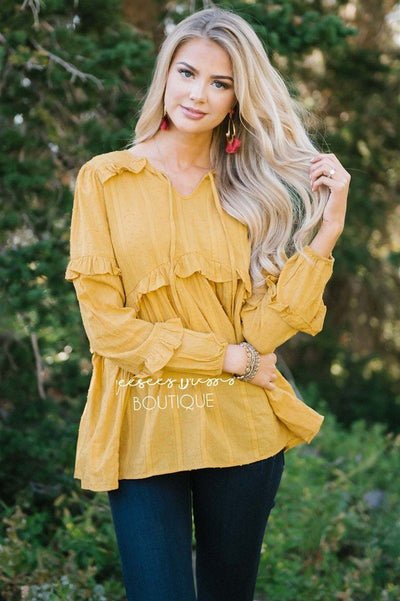 Ruffle Trim Neck Tie Blouse