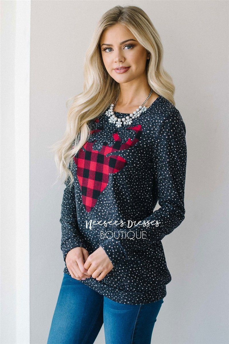 Falling Snow Plaid Reindeer Sweater