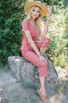 The Mimi Polka Dot Jumpsuit Modest Dresses vendor-unknown Dusty Marsala Polka Dot S