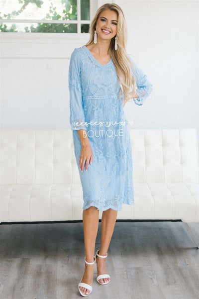 Day Dreamer Lace Dress in Arctic Blue Modest Dresses vendor-unknown Pale Arctic Blue Small/Medium