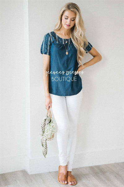 Embroidered Chambray Top Tops vendor-unknown