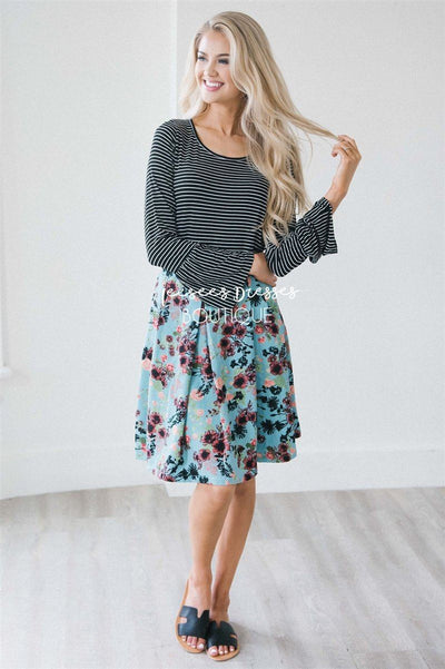 Full Circle Pleated Skirt Skirts vendor-unknown Blue Floral Garden XS